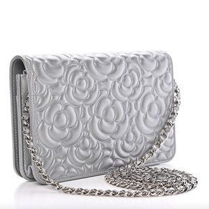 CHANEL Bags - {CHANEL} 💗 Crystal Camellia WOC Silver Bag